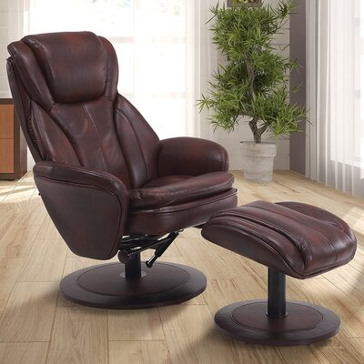 Cush Manual Swivel Recliner With Ottoman Color: Whiskey