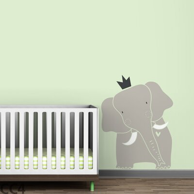 Baby Zoo King Elephant Wall Decal Color: Warm Gray / White / Charcoal