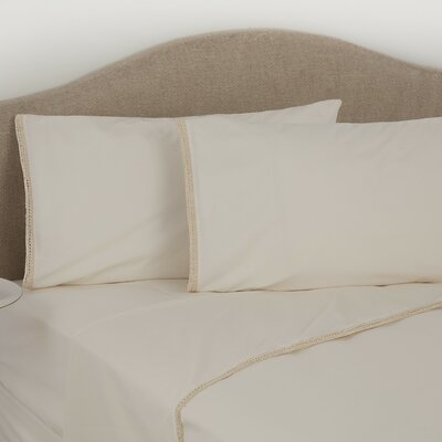 Crochet Trim 275 Thread Count 100% Cotton Flat Sheet Size: Queen