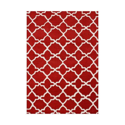 Harrietta Hand Tufted Wool Red Area Rug