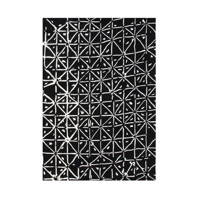 Georgina The Canvas Painting Hand Woven Wool Black/White Area Rug