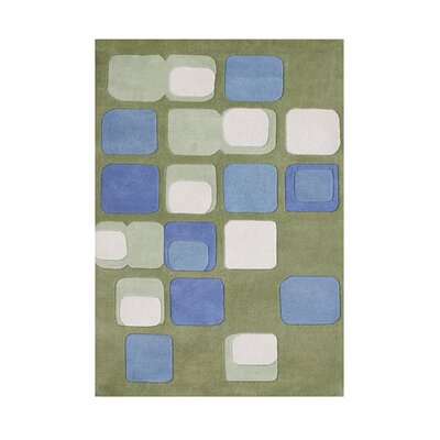 Botelho Hand Tufted Wool Leaf Green Area Rug