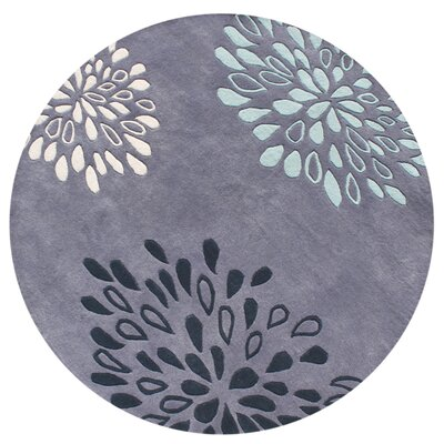 New Zealand Handmade Moon Light Blue Area Rug Rug Size: Round 6