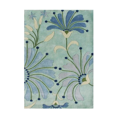 Aberdeen Wild Lily Floral Hand Woven Wool Aqua Area Rug