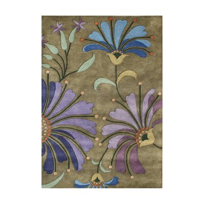 Aberdeen Floral Handmade Khaki Green Area Rug Rug Size: 4 x 6