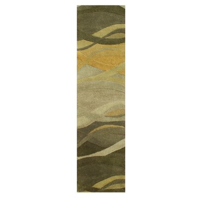 New Zealand Handmade Green Area Rug Rug Size: Runner 2' x 8'