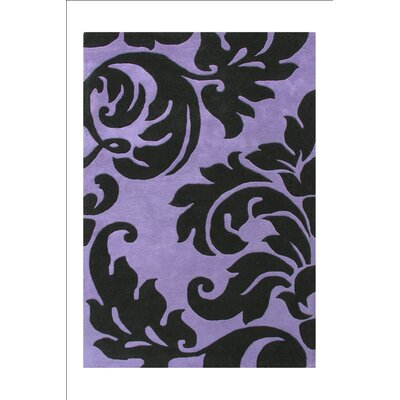 Kaliyah Flower Design Hand Tufted Wool Purple Area Rug