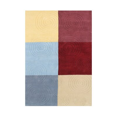 Newsoms Hand Woven Wool Gray/Red/Yellow Indoor Area Rug Rug Size: 5 x 8
