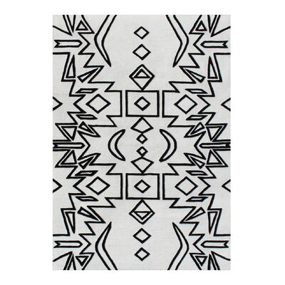 Abbie Hand-Woven Black Area Rug Rug Size: 5 X 8