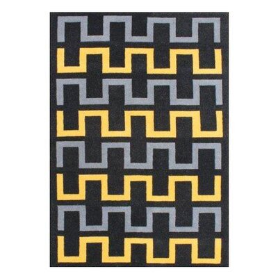 Ginger Hand-Woven Black Area Rug Rug Size: 5 X 8