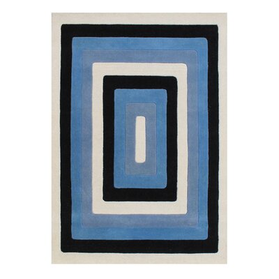 Dicarlo The Lovely Shades Hand-Woven Black/Blue Area Rug Rug Size: 5 X 8
