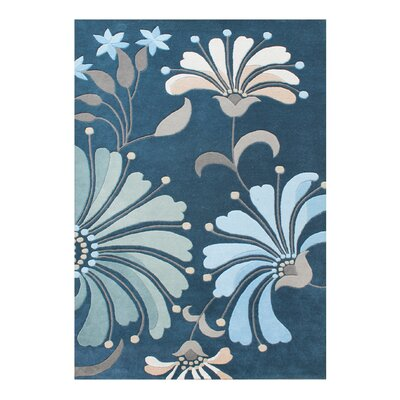 Ethelyn Hand-Woven Blue/Green Area Rug Rug Size: 5 X 8