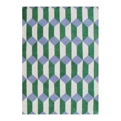 Regina Hand-Woven Yellow/Green Area Rug Rug Size: 5 X 8
