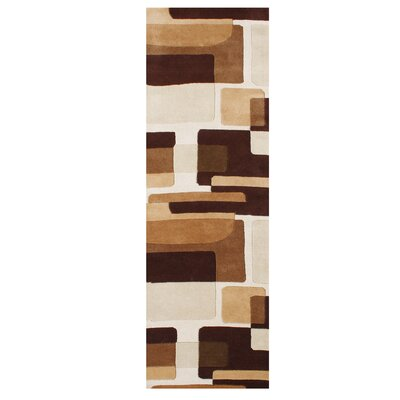 Shockley Hand Tufted Wool Brown Area Rug