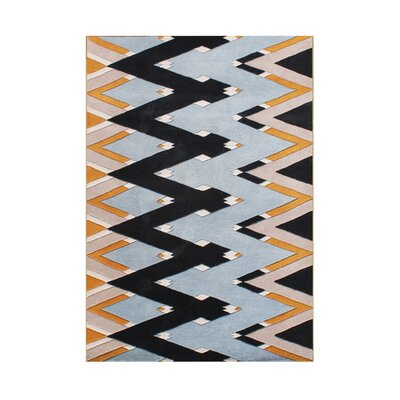 Kersh Zig Zag Rectangle Hand Tufted Wool Beige Area Rug