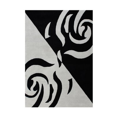 Genevieve Hand Woven Wool Gray/Black Indoor Area Rug Rug Size: 5 x 8
