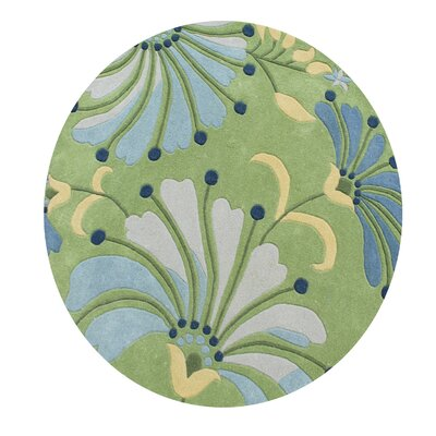 Delanco Hand Woven Wool Green Indoor Area Rug Rug Size: Round 6 x 6