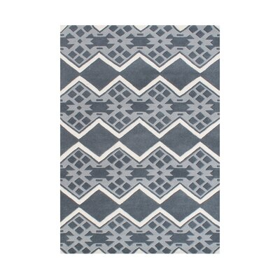 Gerardo Different Shades Geometric Design Hand Woven Wool Gray Area Rug