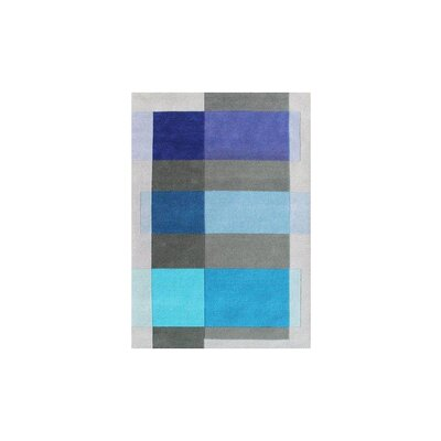 Delaware Hand Woven Wool Gray/Blue Indoor Area Rug Rug Size: 5' x 8'