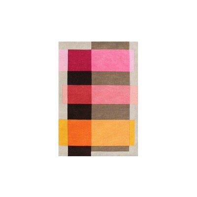 Delaware Hand Woven Wool Pink/Gray Indoor Area Rug Rug Size: 5 x 8