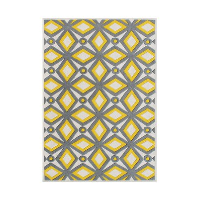 Holtzman Hand Woven Wool Yellow/Gray Indoor Area Rug Rug Size: 5 x 8