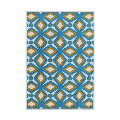 Holtzman Designer and Colorful in Beautiful Tones Hand Woven Wool Blue/Yellow Area Rug