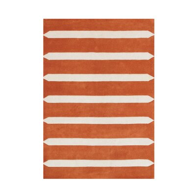 Downe Hand Woven Wool Coral Indoor Area Rug Rug Size: 5 x 8