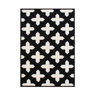 Rivas Hand Woven Wool Black/White Indoor Area Rug Rug Size: 5 x 8