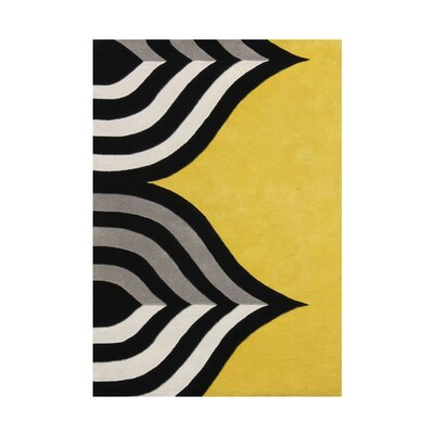 Gigi Hand Woven Wool Black/Yellow Indoor Area Rug Rug Size: 8 x 10