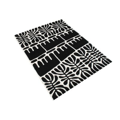 Gill Hand Woven Wool Black/White Indoor Area Rug Rug Size: 5 x 8