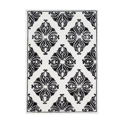 Jeanelle Hand Woven Wool Black/White Indoor Area Rug Rug Size: 5 x 8
