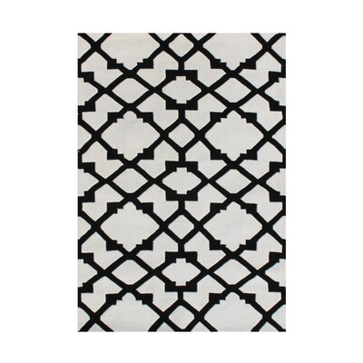 Jonesville Hand Woven Wool Black/White Indoor Area Rug Rug Size: 5 x 8