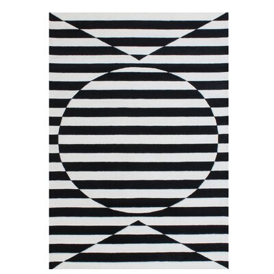 Gladding Stimulating Optical Illusion In The 3D Design Hand-Tufted Wool Black Area Rug