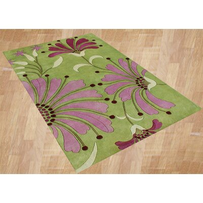 Aberdeen Handmade Green Area Rug Rug Size: Rectangle 9 x 12