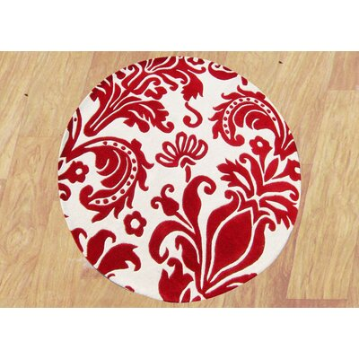 Brianna Hand-Tufted Red Area Rug Rug Size: Round 6