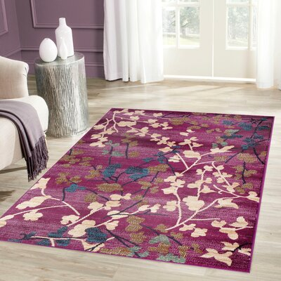 Frederick Purple Area Rug Rug Size: Rectangle 53 x 73