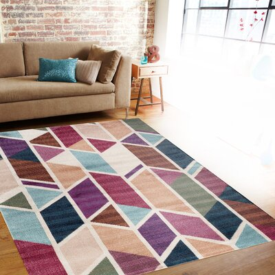 Lof Purple/Blue/Beige Area Rug Rug Size: Rectangle 710 x 102
