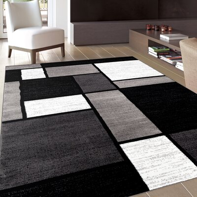 Lorenzo Gray/Black Area Rug Rug Size: Rectangle 53 x 73