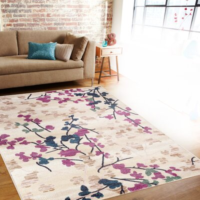 Frederick Cream/Pink Area Rug Rug Size: Rectangle 53 x 73