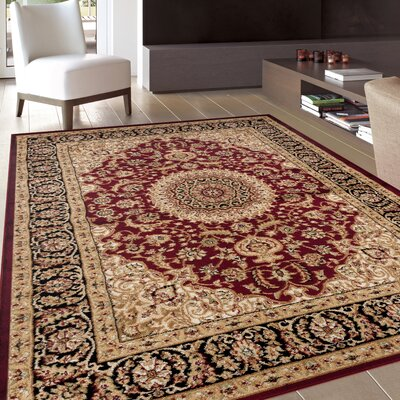 Geena Oriental Burgundy Area Rug Rug Size: Rectangle 710 x 102