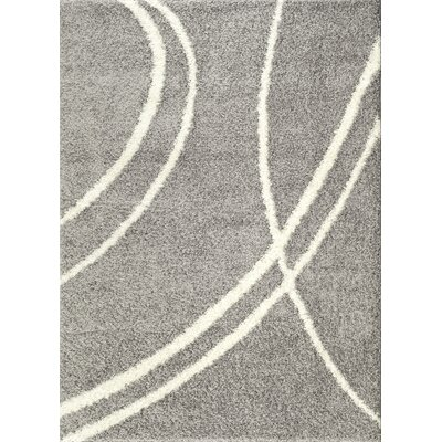Caressa Light Gray/White Area Rug Rug Size: 53 x 73