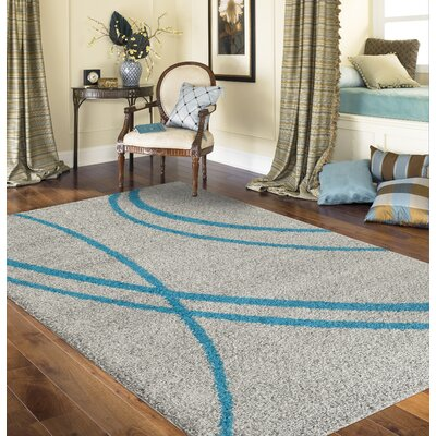 Caressa Turquoise/Gray Area Rug Rug Size: Rectangle 53 x 73