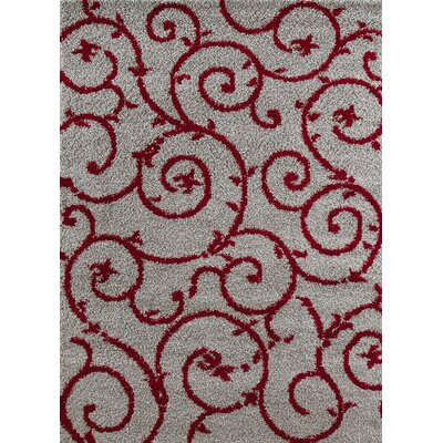Florida Red/Gray Area Rug Rug Size: 53 x 73