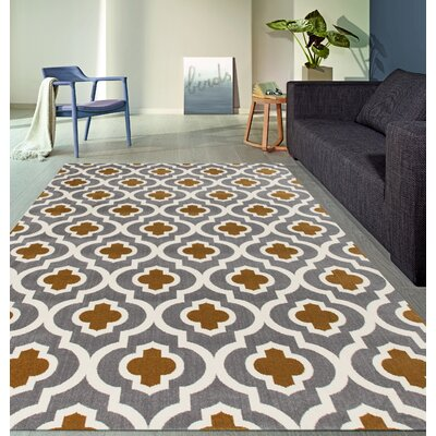 Elite Soft Dark Gray/Yellow Area Rug Rug Size: 53 x 73