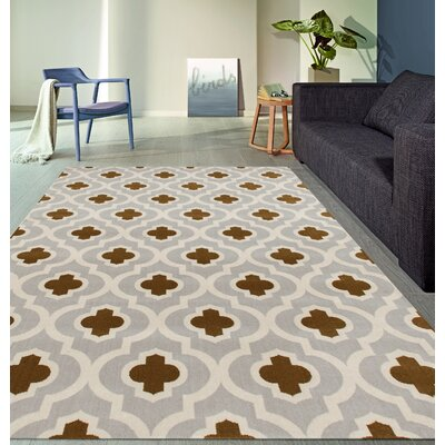 Elite Light Gray/Yellow Area Rug Rug Size: Rectangle 53 x 73