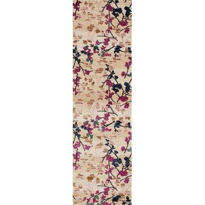 Loft Cream/Pink Area Rug Rug Size: Runner 2 x 8