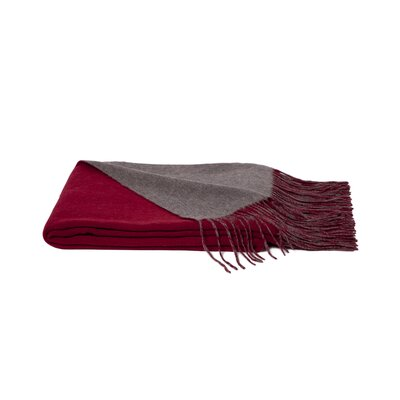 Reversible Wool Blend Throw Color: Heather Grey/Claret