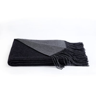 Reversible Wool Blend Throw Color: Heather Grey/Charcoal Grey