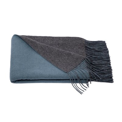 Reversible Wool Blend Throw Color: Heather Grey/Lake