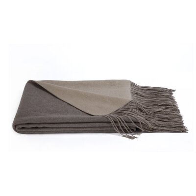 Reversible Wool Blend Throw Color: Sand/Oatmeal